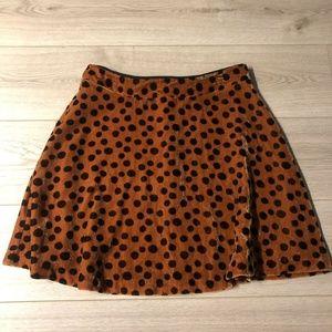 Madewell Velvet Circle Mini Skirt in Leopard Dot S